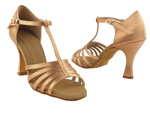 "S9273 Tan Satin with 3"" Flare heel in the photo"