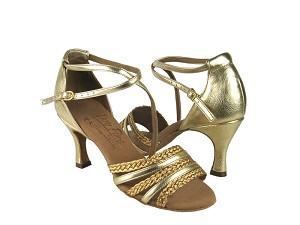 "S9278 Gold Leather & Gold Braid with 3"" Flare heel in the photo"