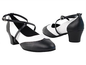 "Swing001 Black & White Leather with 1.6"" medium heel in the photo"