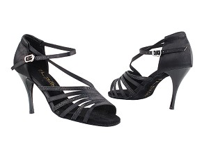 "2824LEDSS Black Satin_Black Glitter with 3.5"" Stiletto Black Plated Heel in the photo"