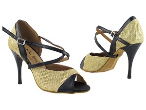 "2828LEDSS Gold Glitter Satin with 3.5"" Stiletto Black Plated Heel in the photo"