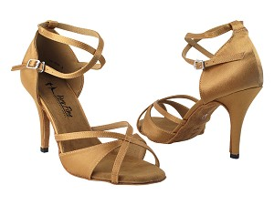 "2829LEDSS Brown Satin_Brown Satin Trim with 3.5"" Stiletto Heel in the photo"