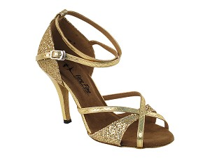 "2829LEDSS Gold Sparklenet_Snake Gold Trim with 3.5"" Stiletto Heel in the photo"