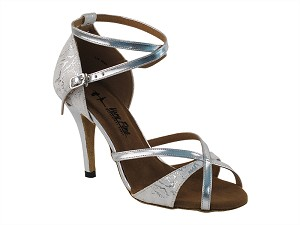 "2829LEDSS White_Silver Trim with 3.5"" Stiletto Heel in the photo"