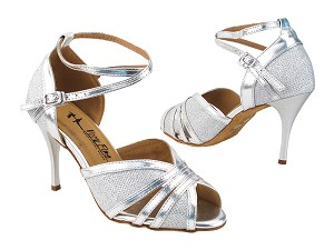 "2866LEDSS Glitter Silver Satin & Silver Leather Trim with 3.5"" Stiletto Silver Heel (TG1) in the photo"