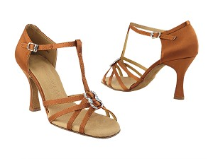 "SERA1120 Dark Tan Satin with 3"" heel in the photo"