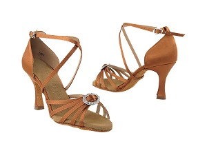 "SERA1123 Dark Tan Satin with 3"" heel in the photo"