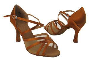 "SERA1605 Dark Tan Satin with 3"" Heel in the photo"