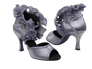 "SERA7013 Silver Grey Satin with 3"" heel in the photo"