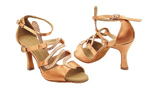 "SERA7017 Tan Satin with 3"" heel in the photo"