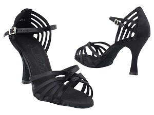"SERA7032 Black Satin with 3"" Heel in the photo"