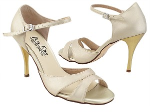 "VFTango 008 Light Gold Leather with 3.5"" Stiletto Gold Heel (TG1) in the photo"