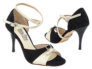 "VFTango 020 Black Suede_Light Gold Leather with 3.5"" Stiletto Black Heel (TG1) in the photo"