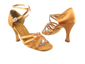"1606 236 Dark Tan Satin with 3.5"" Heel in the photo"