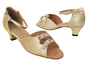 1620 125 Gold Stardust_Stone with women's 1.3 inch cuban Heel in the photo