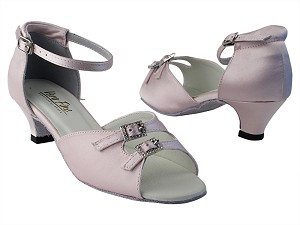 "1620 233 Light Pink Satin_Stone with 1.3"" Cuban Heel in the photo"