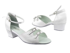 "1620 34 White Satin with 1.5"" Medium Heel in the photo"