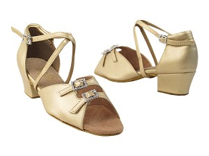 "1620 (1625) 59 Light Gold PU_Stone_X-Strap Arch_same as 1620F & 1636B with 1.5"" medium heel in the photo"