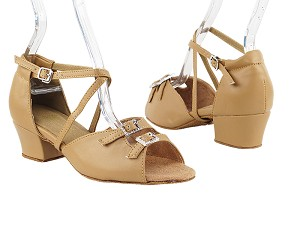 "1620 (1625) Beige Brown Leather & Stone & X-Strap Arch_Same as 1620F_1636B with 1.5"" Medium Heel in the photo"