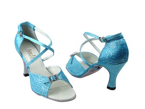 "1636 104 Blue Flower Satin & Stone with 3"" Heel in the photo"
