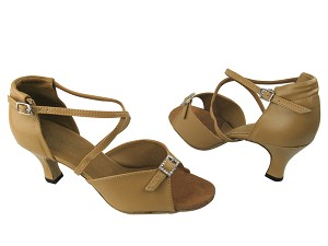"1636 157 Beige Brown Leather with 2.5"" Low Heel in the photo"