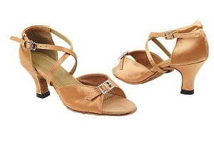 "1636 192 Tan Satin with 2.5"" Heel in the photo"