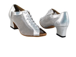 "1643 221 Snake Silver_110 Mesh with 2"" Thick Cuban Heel in the photo"