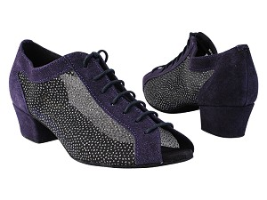 "1643 281 Purple Suede_307 White Silver Glitter Mesh with 1.5"" Medium Heel in the photo"