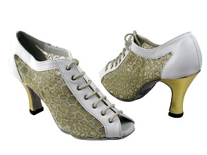 "1643 White Leather & 196 Mesh & Gold Leather Heel with 3"" Heel in the photo"