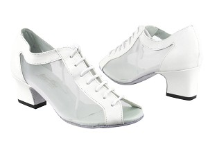 "1643 White Leather_52 White Mesh with 2"" Thick Cuban Heel in the photo"