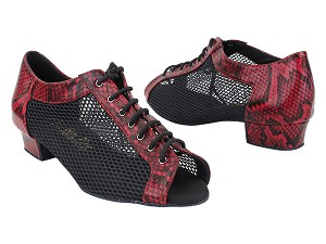 "1643FT 241 Red Snake_501 Black Fishnet Mesh with Women 1"" Heel (8881) in the photo"
