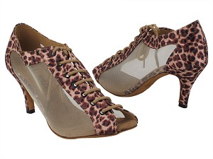 "1643LEDSS 128 Light Leopard Satin_Flesh Mesh with 2.75"" Stiletto Heel (385) in the photo"
