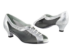 "1644 126 Silver Stardust_Black Mesh with 1.3"" Cuban heel in the photo"
