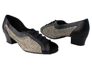 "1644 140 Black PU_101 Sparklenet_M with 1.5"" Medium Heel in the photo"