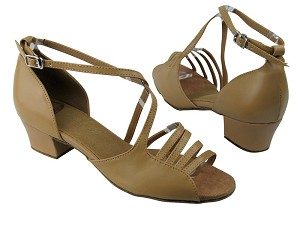 "1651 157 Beige Brown Leather with 1.5"" Medium heel in the photo"