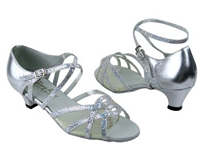 "1657 107 Silver Scale_Silver Leather_Flesh Mesh with 1.3"" Cuban heel in the photo"
