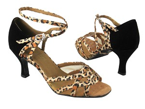 "1657 152 Leopard Satin_F_S_136 Black Nubuck_B_H_Flesh Mesh with 3"" heel in the photo"