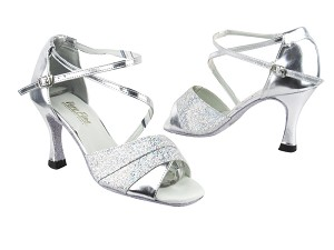 "1659 107 Silver Scale_Silver Leather_H with 3.5"" Heel in the photo"