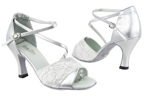 "1659 194 Lace White Stardust_151 Soft Silver PU with 3"" Heel in the photo"