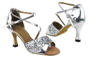 "1659 7 Silver Sparkle_Silver Leather with 3"" heel in the phto"
