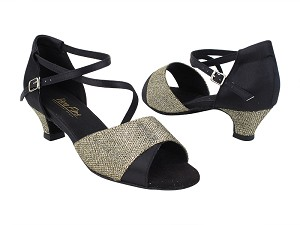 "1659 Black Satin_F_B_101 Glitter_F_H with 1.3"" Cuban Heel (387) in the photo"