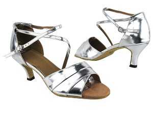 "1659 Silver Leather with 2.6"" Flare Heel in the photo"