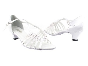 "1661 White Satin with 1.3"" Heel in the photo"