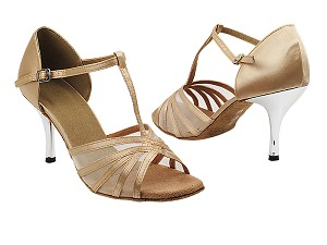 "16612 135 Light Brown Satin_Flesh Mesh with 3"" Slim Silver Plated Heel in the photo"