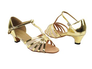 "16612 62 Gold PU_Flesh Mesh with 1.3"" Cuban Heel in the photo"