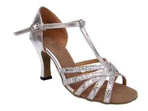 "16612 Silver Sparkle (F) & Silver Leather (No Mesh) with 3"" heel in the photo"