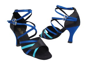 "1662B 38 Black Satin_230 Light Blue Satin_T_247 Gem Blue Satin_S_T_H with 3"" Heel in the photo"