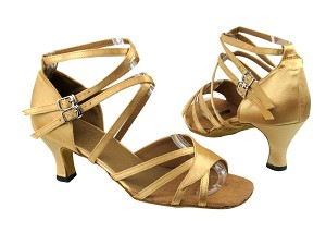 "1662B 80 Light Gold Satin with 2.5"" Low heel in the photo"