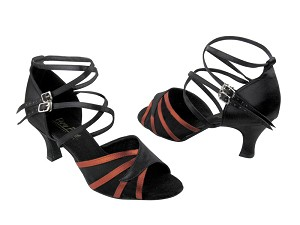 "1662B Black Satin & Orange Tan Satin & Black Mesh with 2.5"" Low Heel in the photo"