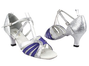 "1668 245 Voilet Satin_126 Silver Stardust with 2.5"" Heel in the photo"